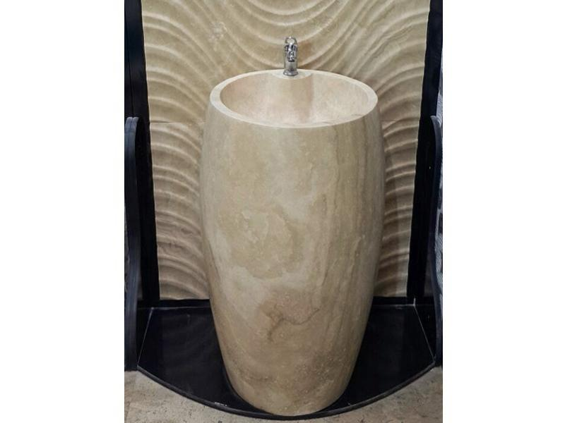 traverten Oval Mermer Dikey Lavabo
